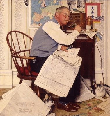 Man Charting War Maneuvers