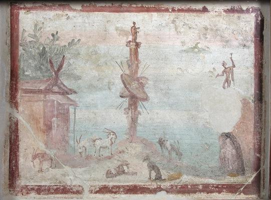 Pompeian fresco with a sacro-idyllic scene